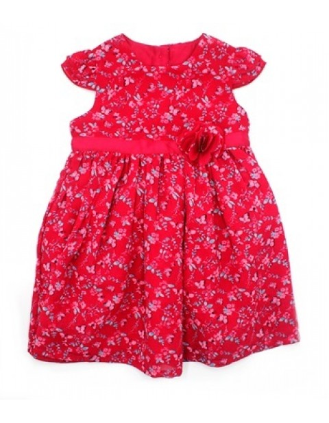 George Girls Floral Dress With Brooch