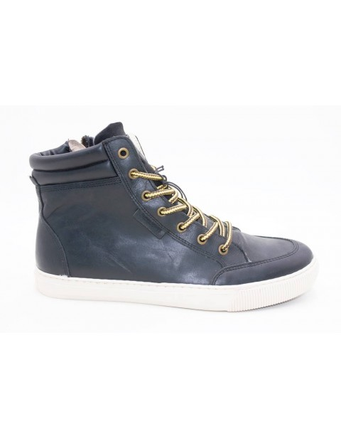 Jack & Jones Leather Hightop Sneakers-Black