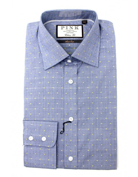 Thomas Pink Classic Fit Sky Blue Shirt With Yellow Dots