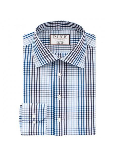 Thomas Pink Daniels Check Slimfit Button Cuff Shirt