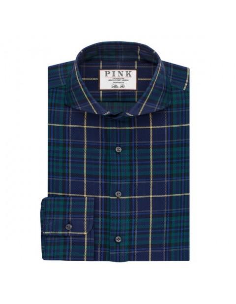 Thomas Pink Harper Check Slimfit Button Cuff Shirt