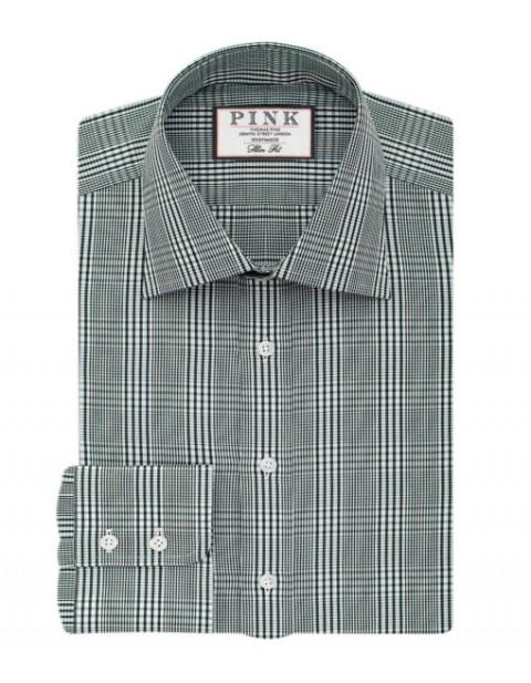 Thomas Pink Humphery Check Slimfit Button Cuff Shirt