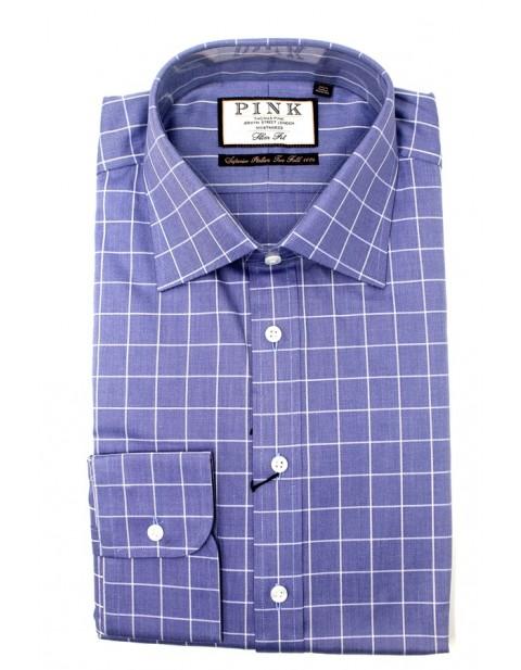 Thomas Pink Slim Fit Shirt in Check Design