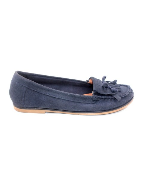 Carvela Kurt Geiger Flat Mock Slip On Shoe-Navy Blue