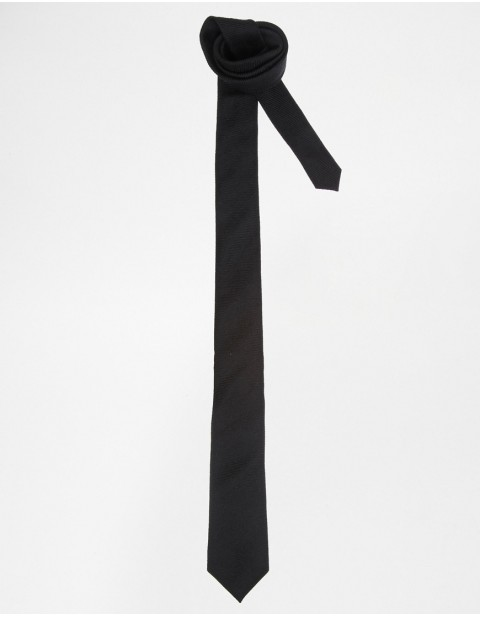 Long Tie In Ottoman - Black