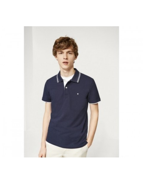 SLIM FIT COLLAR WITH CUBES NAVY BLUE