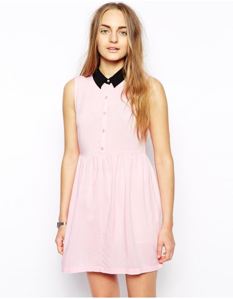 Contrast Collar Skater Shirt Dress