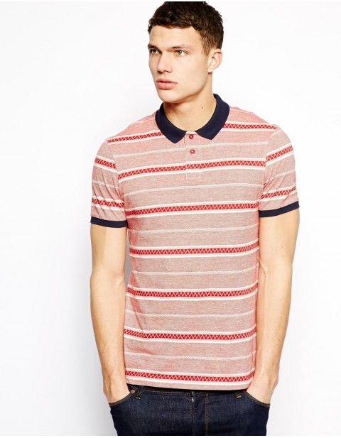 Red Polo With Jacquard Stripe