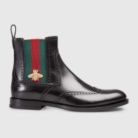 Gucci Leather Boot With Web