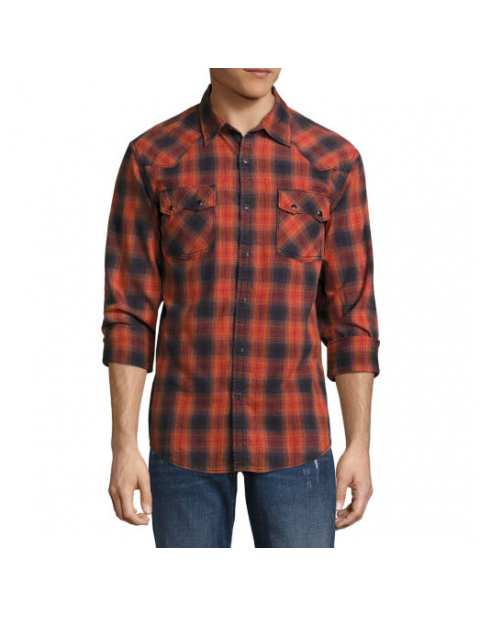 Decree Long Sleeve Plaid Button Front Shirt