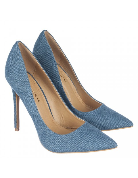 NEW SHOE REPUBLIC LA RELIGION BLUE DENIM HEELS