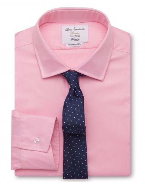 Fitted Plain Pink Luxury Twill Shirt