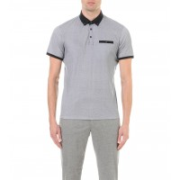 Ted Baker Rectangular Geo Print Cotton Polo Shirt