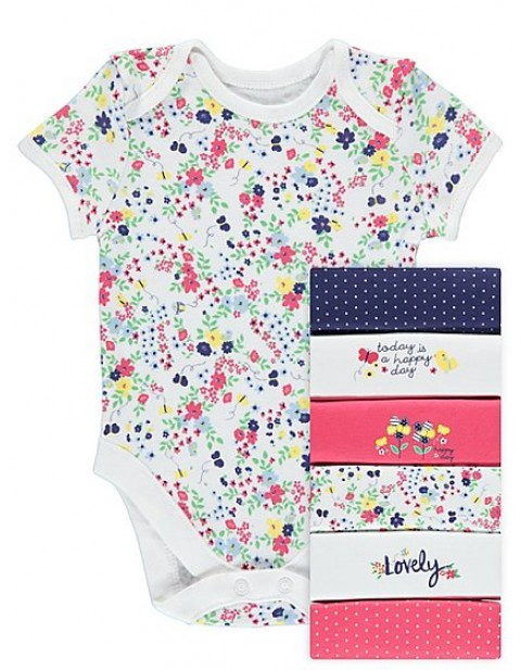 Seven Pack Happy Day Short Sleeve Bodysuits