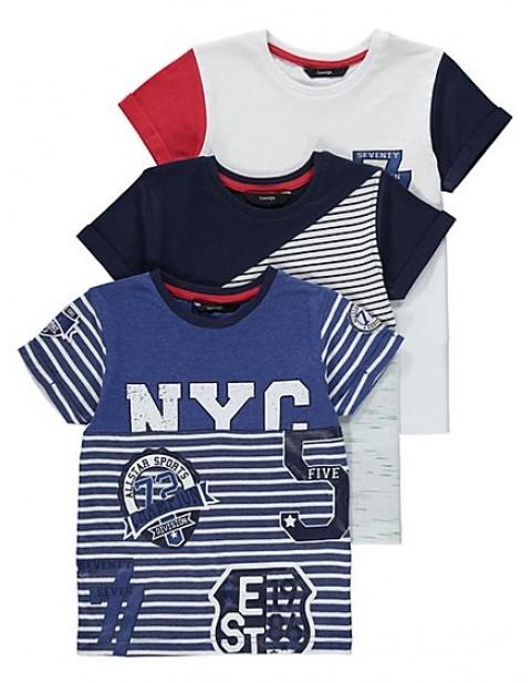 George Three Pack Assorted Print T-shirts