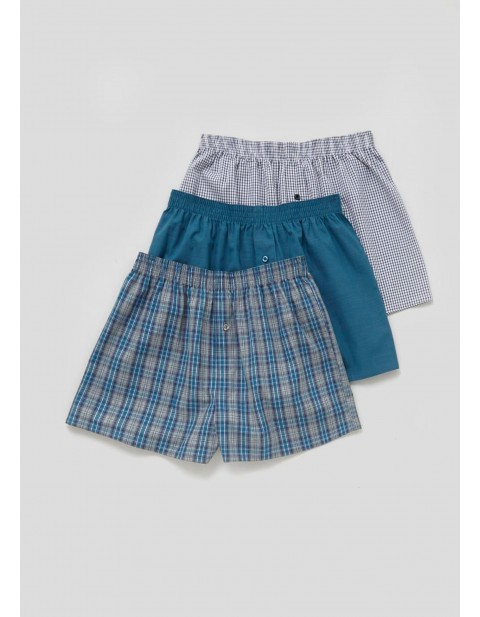 matalan three Pack 100% Cotton Boxers blue