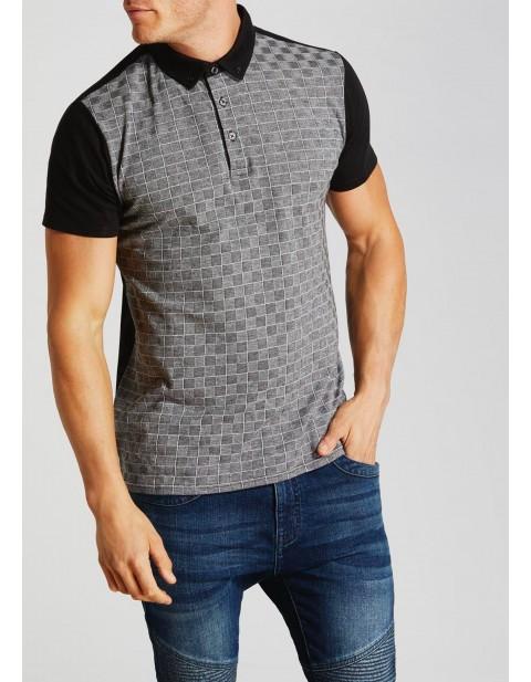 Check Front Contrast Collar Polo Shirt