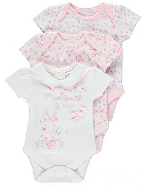MATALAN FLORAL THREE PACK BABY GIRL BODYSUIT