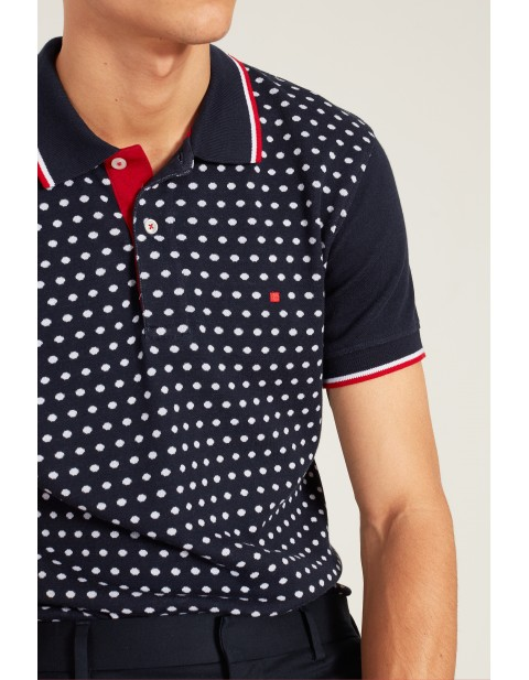 Polka dot jacquard polo shirt