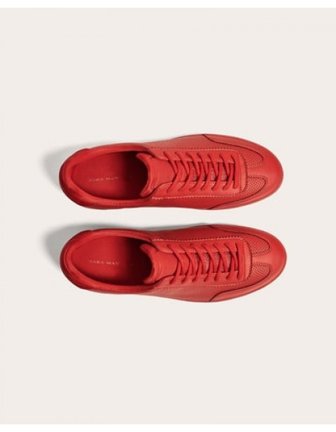 RED MICRO PERFORATED SNEAKERS