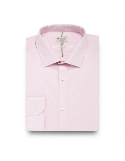 Racing Green Pink Twill Regular Fit Shirt