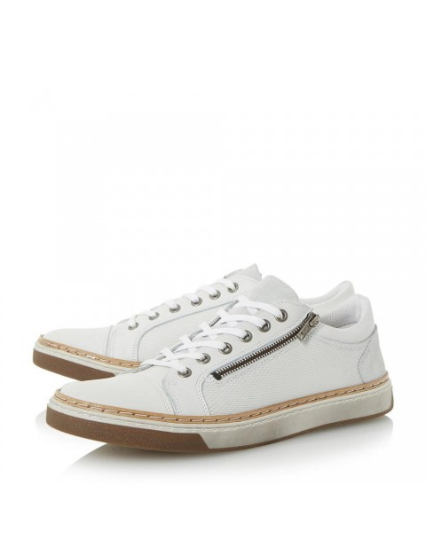 Zip And Embossed Leather Trainer