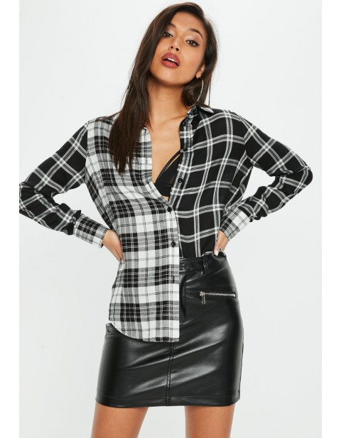 Black Mix and Match Check Shirt