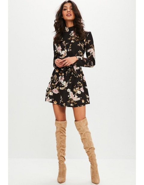 Black Printed Long Sleeve Tie Waist Shift Dress