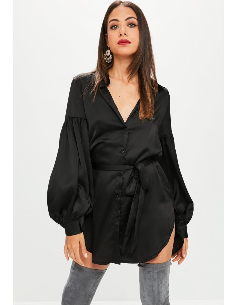 Black Satin Shirt Dress With Puff Sleeves