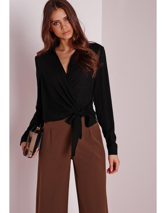 Missguided Wrap Over Tie Side Blouse Black Baffs Hq