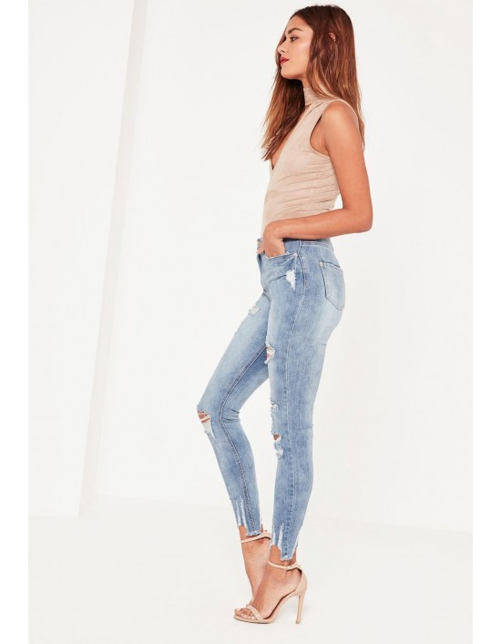 0ef1516675406f Blue Sinner High Waisted Authentic Ripped Skinny Jeans