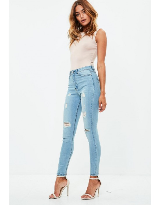 43e59893ee9 Blue Sinner High Waisted Ripped Skinny Jeans