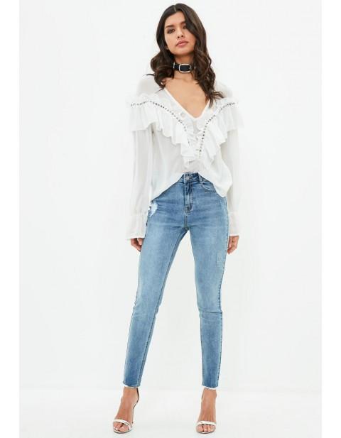 Blue Sinner Highwaisted Vintage Distressed Skinny Jeans