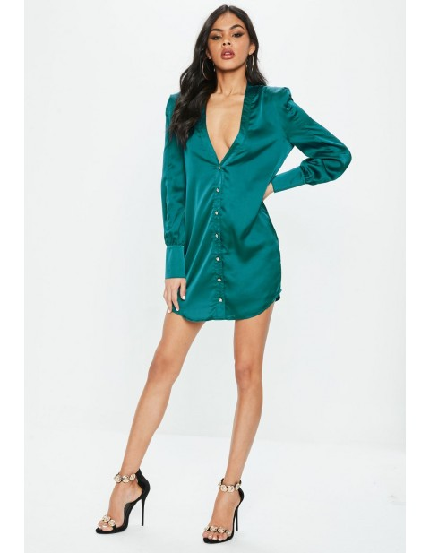 Green Satin Button Through Shirt Dress