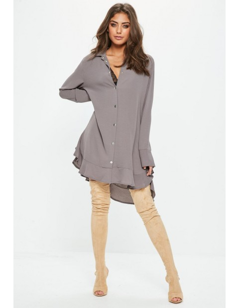 Grey Long Sleeve Frill Hem Shirt Dress