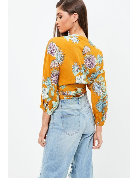 Mustard Yellow Floral Silky Wrap Top