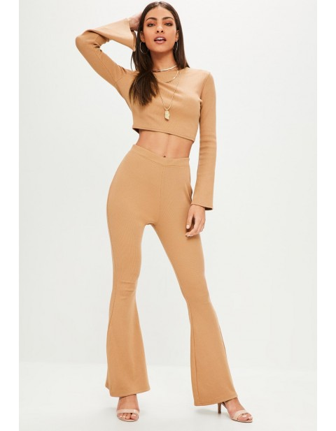 Petite Camel Ribbed Flare Trousers