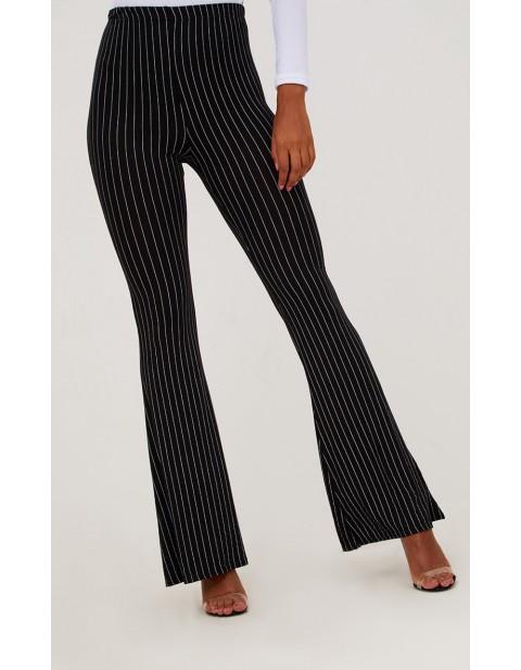 Petite Black Pinstripe Flare Trousers