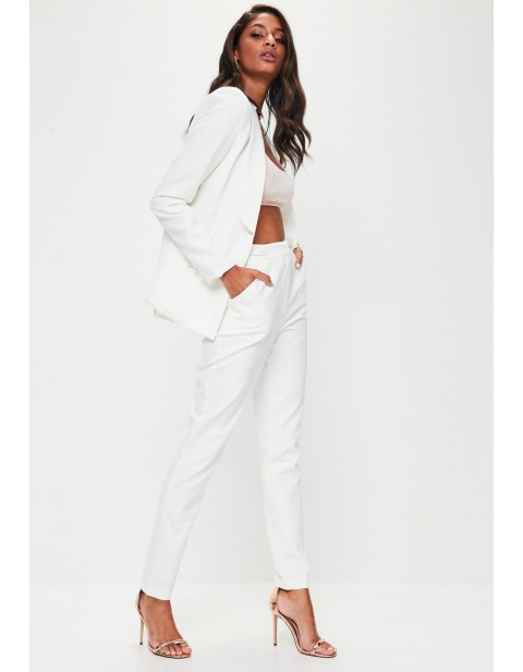 Tall White Button Detail Cigarette Trouser