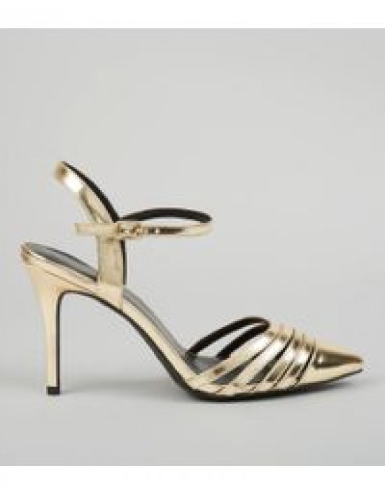 544d40a87851d NEW LOOK -GOLD METALLIC POINTED ANKLE STRAP HEELS- Baffs HQ Boutique ...