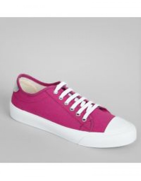 PINK CANVAS LACE UP TRAINERS NEW LOOK