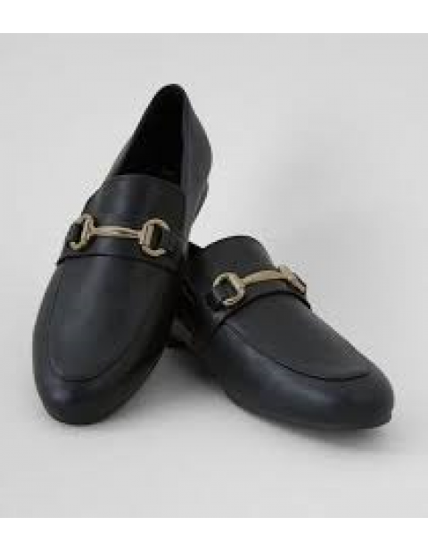 BLACK SNAFFLE TRIM LOAFERS