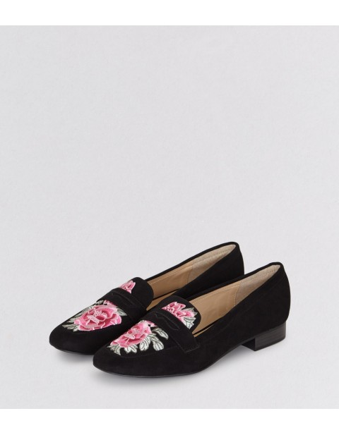 BLACK FLORAL EMBROIDERED LOAFERS
