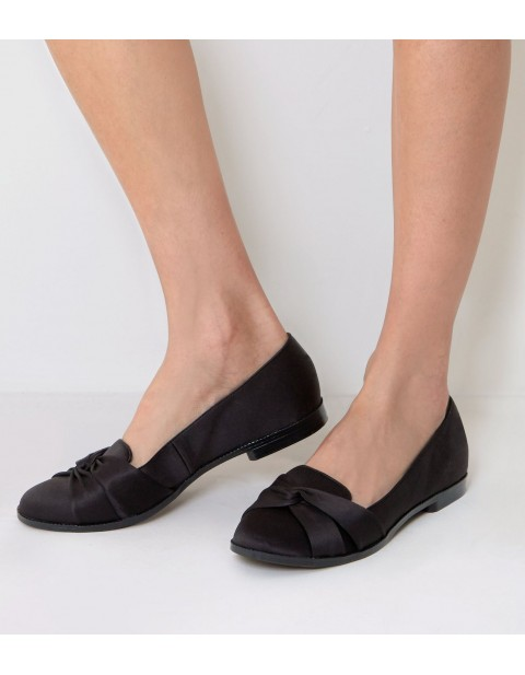 BLACK SATIN  KNOT FRONT LOAFERS
