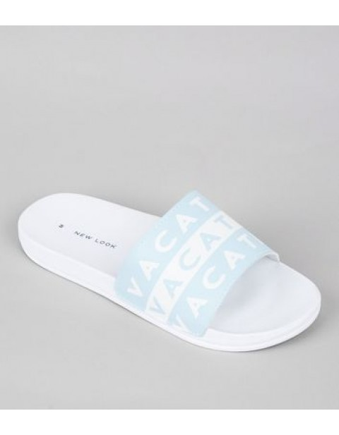 PALE BLUE VACATION POOL SLIDERS