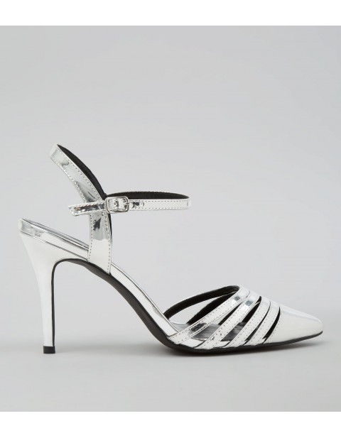 SILVER METALLIC POINTED ANKLE STRAP HEELS