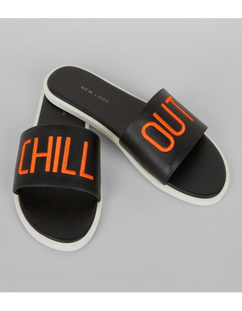 WIDE FIT BLACK CHILL OUT MULES