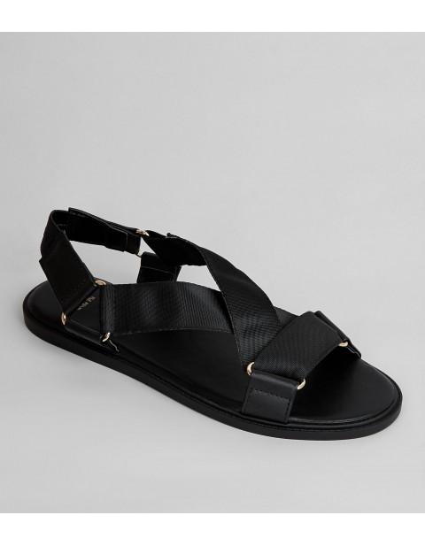 WIDE FIT BLACK RING STRAP FOOTBED SANDALS