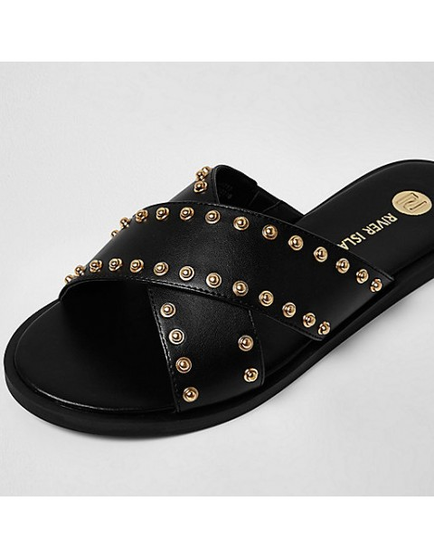 River Island Black cross strap stud sliders