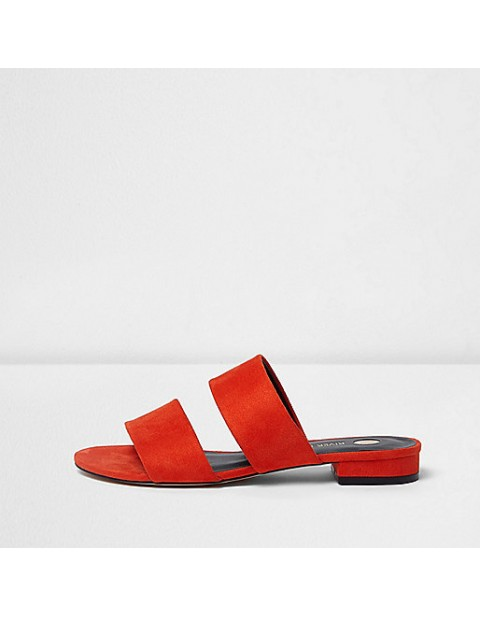 River Island Red two strap mules